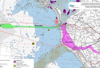 Carte illustrant le choix du fuseau Nord comme fuseau de moindre impact maritime et le fuseau Sud comme fuseau de moindre impact terrestre