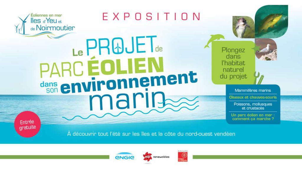 Flyer de l'exposition sur l'environnement marin fait par la société Éoliennes en Mer Îles d'Yeu et de Noirmoutier